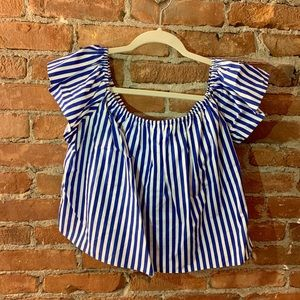 Zara Blue & White Striped Off the Shoulder Top